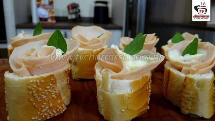 Como Fazer Aperitivo de Baguete com Peito de Peru