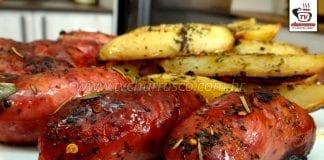 Como Fazer Churrasco de Forno - Linguiça Assada com Batatas