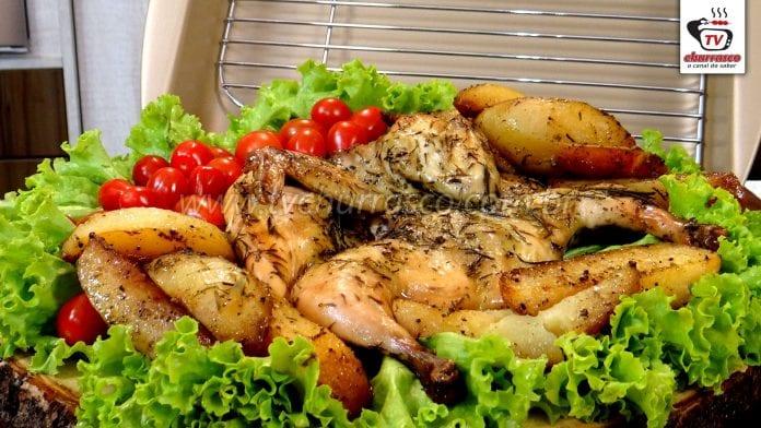 Como Fazer Galeto Assado com Batatas - Churrasco de Forno