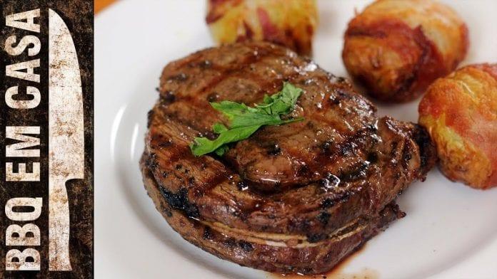 Steak de Contra Filet com Batatas Assadas (Prime Rib With Potatoes) - BBQ em Casa