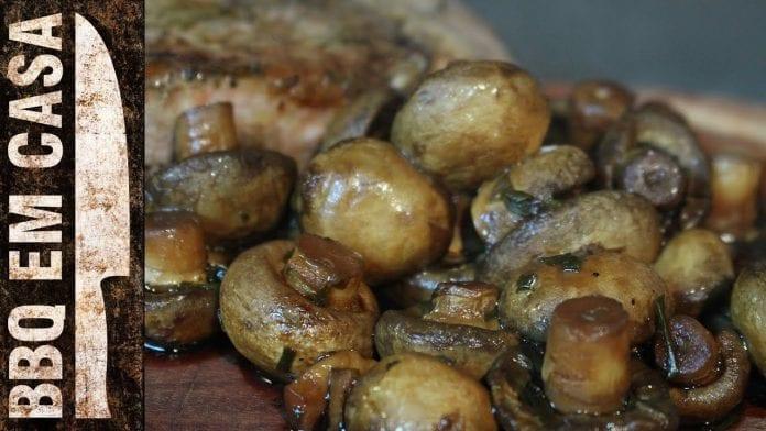 Receita de Cogumelo Paris Assado na Churrasqueira - BBQ em Casa