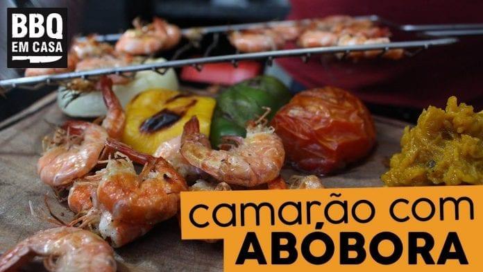 Camarão na Moranga Grelhado na Churrasqueira - BBQ em Casa