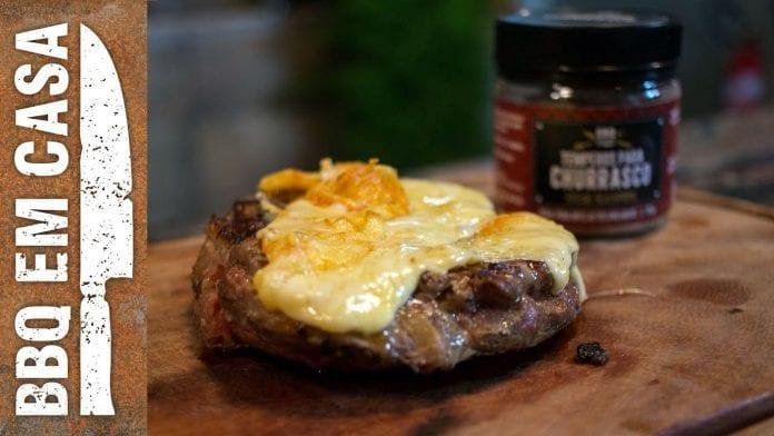 Bife Ancho com Queijo na Manta Grill - BBQ em Casa