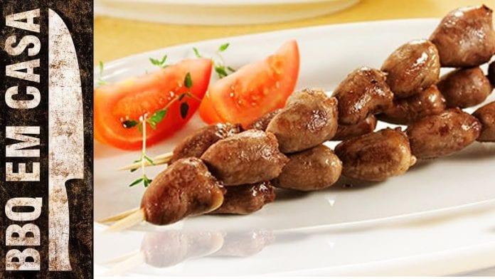 Espetinho de Coração de Frango - Chicken's Heart Bbq (Espetinho) - BBQ em Casa