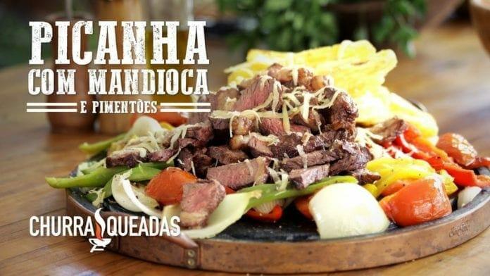 Churrasco Picanha com Mandioca no Suporte Flutuante Grill Land - Churrasqueadas