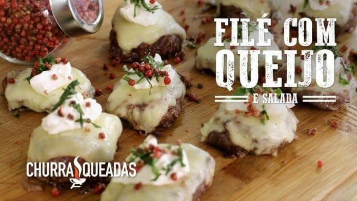 Filé Mignon com Queijo e Salada - Churrasqueadas