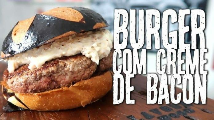 Hambúrguer com Requeijão e Bacon - Burger com Creme de Bacon - Canal Rango