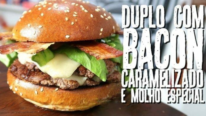 Smash Burger Duplo com Bacon Caramelizado e Molho Especial - Canal Rango